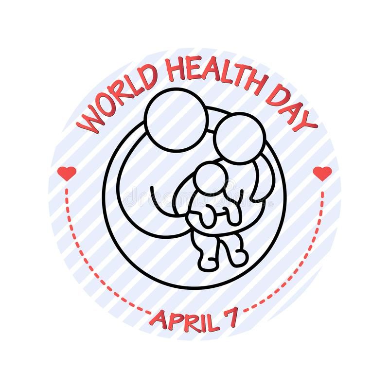 Ilustração do vetor do ícone da família Cartão do dia de saúde de mundo ilustração do vetor