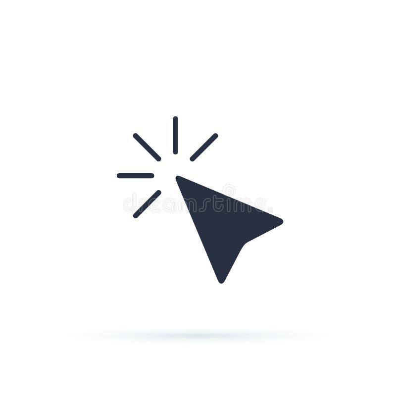 Ilustração do vetor do ícone da seta do ponteiro Ícone liso do vetor da seta do cursor do ponto do clique do rato do computador p ilustração do vetor