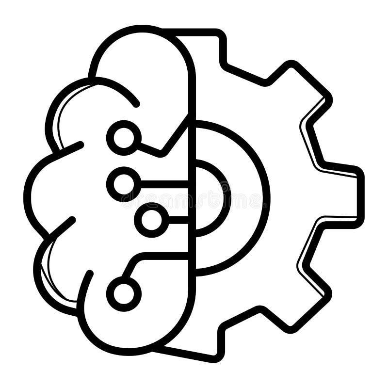 Ilustração do vetor do ícone da tecnologia do cérebro ilustração stock