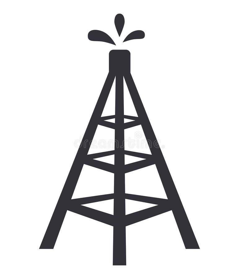 Ilustra??o do vetor do ?cone da Web do s?mbolo da torre da plataforma petrol?fera ilustração royalty free