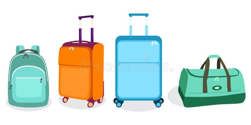 Ilustração do vetor do ícone das malas de viagem dos sacos do curso ilustração royalty free
