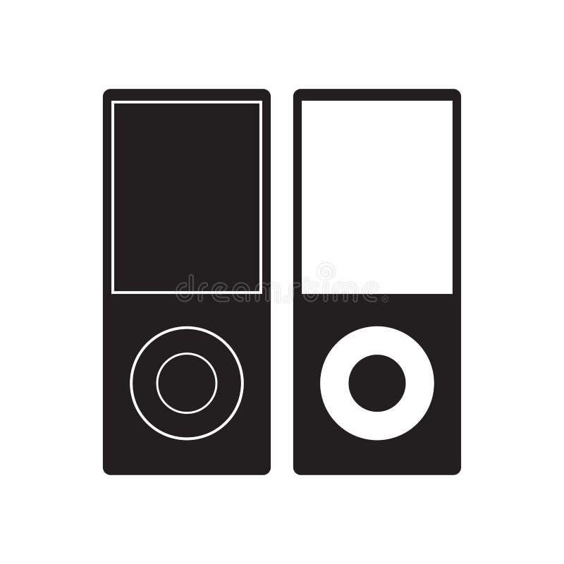 Ilustração do vetor do ícone de IPod Sinal liso do jogador de música Isolado no fundo branco ilustração royalty free
