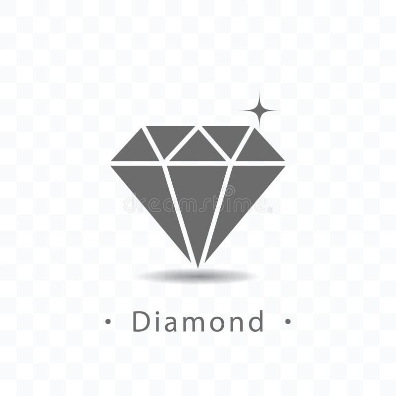 Ilustração do vetor do ícone do diamante no fundo transparente ilustração stock