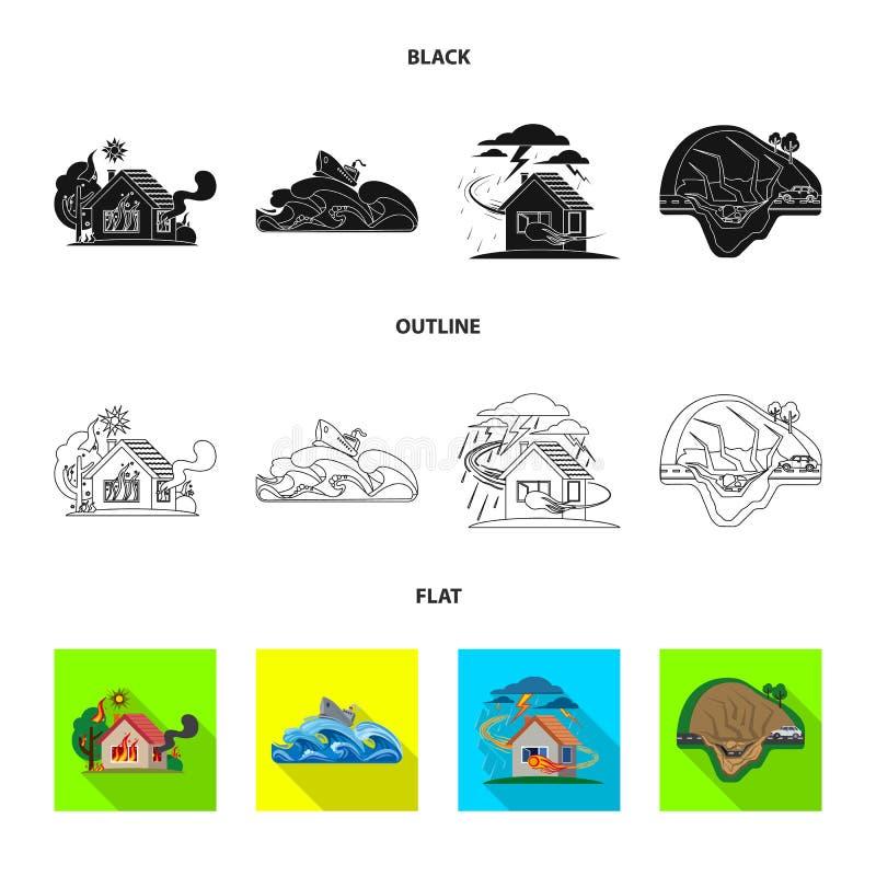 Ilustração do vetor do ícone natural e do desastre Grupo de símbolo de ações natural e do risco para a Web ilustração royalty free
