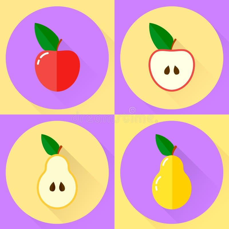 Ilustração do vetor ícone redondo liso ajustado maçã vermelha, meia maçã, ilustração do vetor