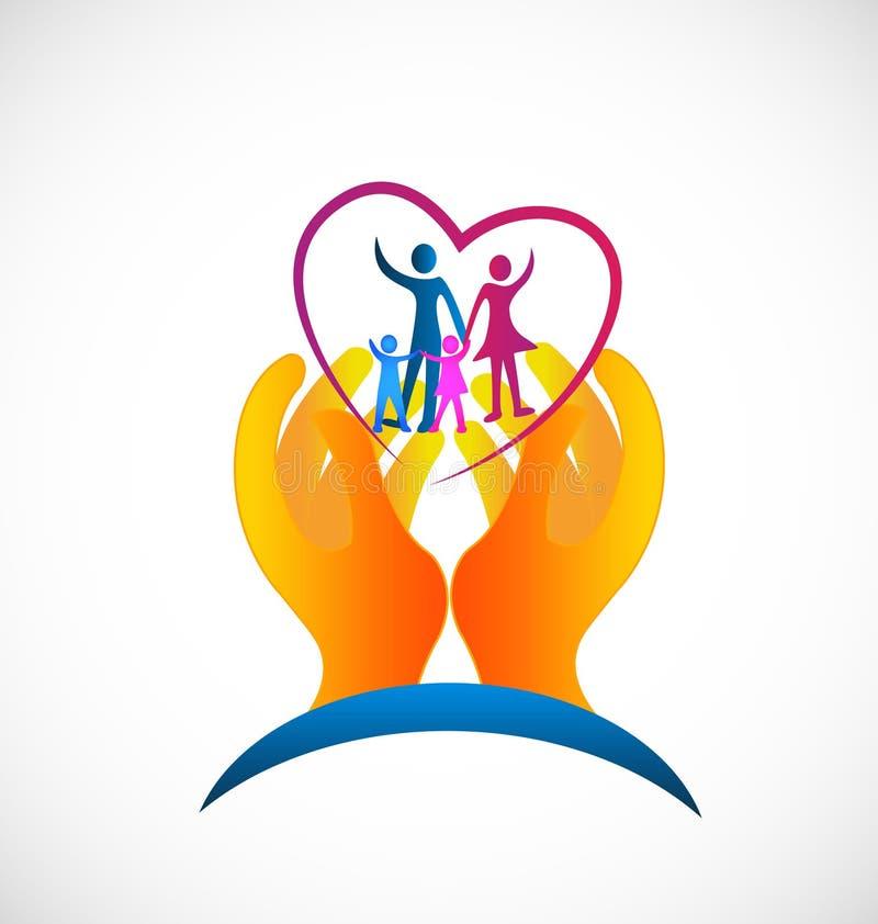 Ilustração do vetor do ícone do símbolo dos cuidados médicos da família ilustração royalty free