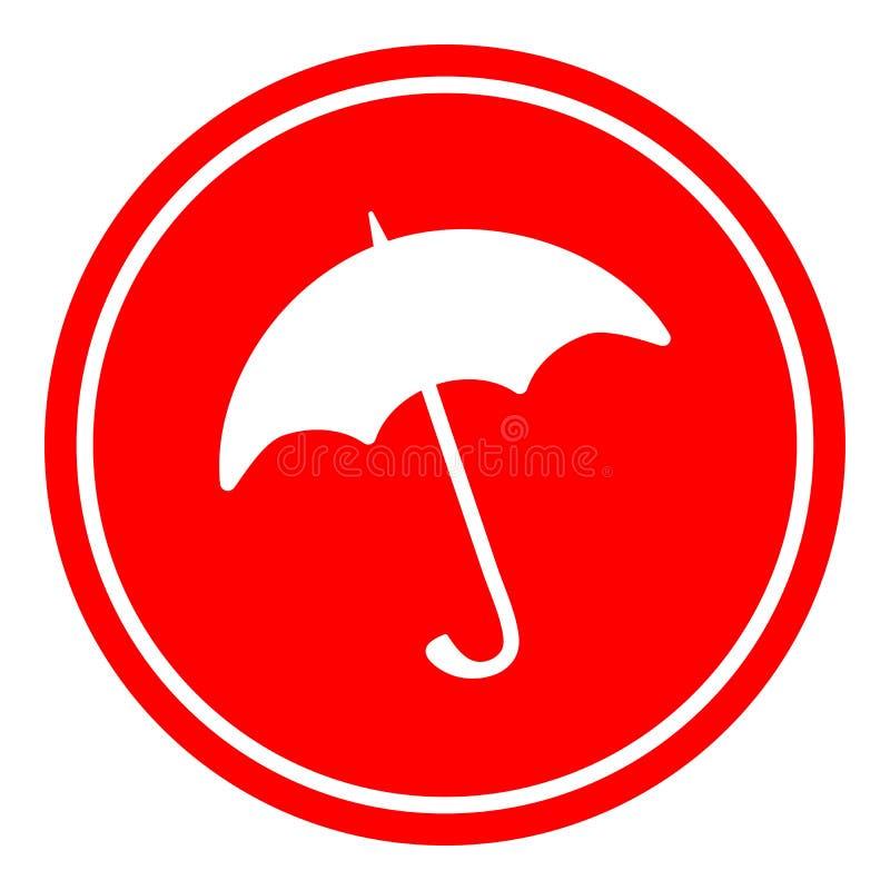 Ilustração do vetor do ícone do sinal do guarda-chuva no fundo vermelho ilustração stock