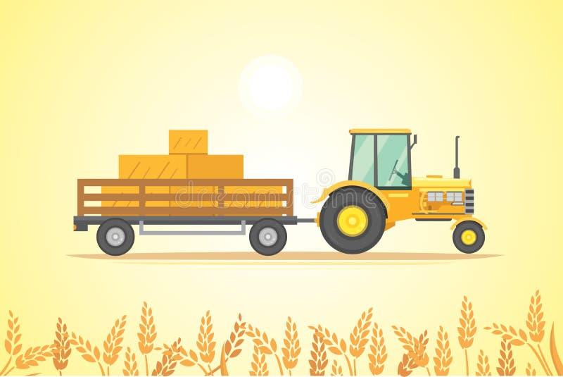 Ilustração do vetor do ícone do trator de exploração agrícola Maquinaria agrícola pesada para o trabalho de campo ilustração stock