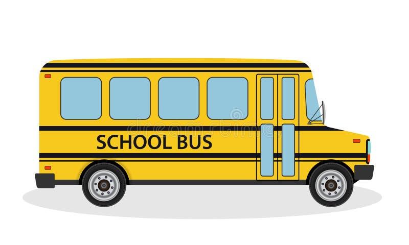 A ilustração do vetor do ônibus escolar para crianças monta à escola Veículo amarelo do transporte da educação no estilo liso ilustração royalty free