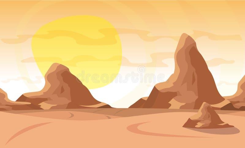 Ilustração do vetor Abandone a paisagem com uma corrente de montanhas altas no horizonte ilustração stock