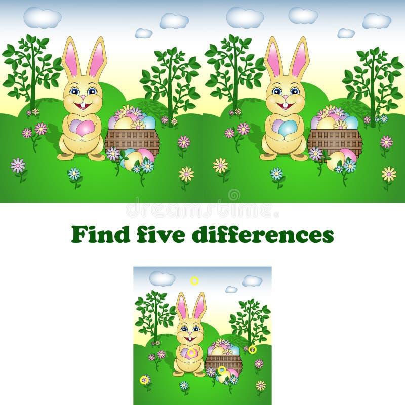 Ilustração do vetor do achado as cinco diferenças com o coelhinho da Páscoa ilustração do vetor