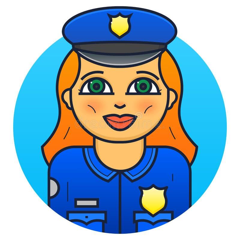 Ilustração do vetor do agente da polícia da mulher ilustração do vetor
