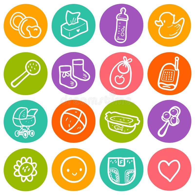 Ilustração do vetor ajustada com ícones redondos do bebê As crianças brincam, diapering, artigos de alimentação, carrinho de cria ilustração royalty free