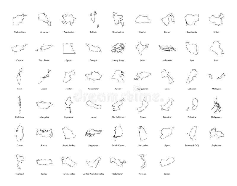 Ilustração do vetor ajustada com os mapas simplificados de todos os países asiáticos dos estados Silhuetas pretas do esboço, fund ilustração stock