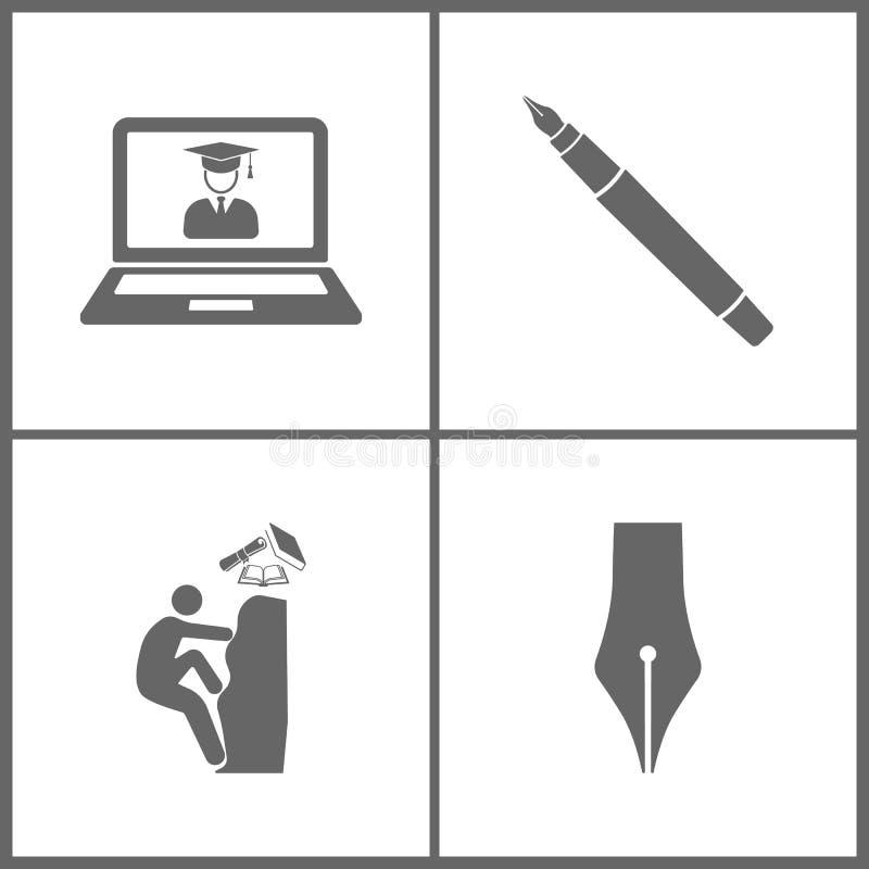 A ilustração do vetor ajustou ícones da educação do escritório Elementos da educação em linha virtual, pena da tinta, escalando a ilustração do vetor