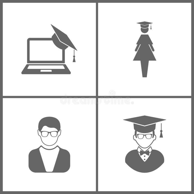 A ilustração do vetor ajustou ícones da educação do escritório Elementos do tampão e o portátil da graduação, o aluno diplomado,  ilustração do vetor