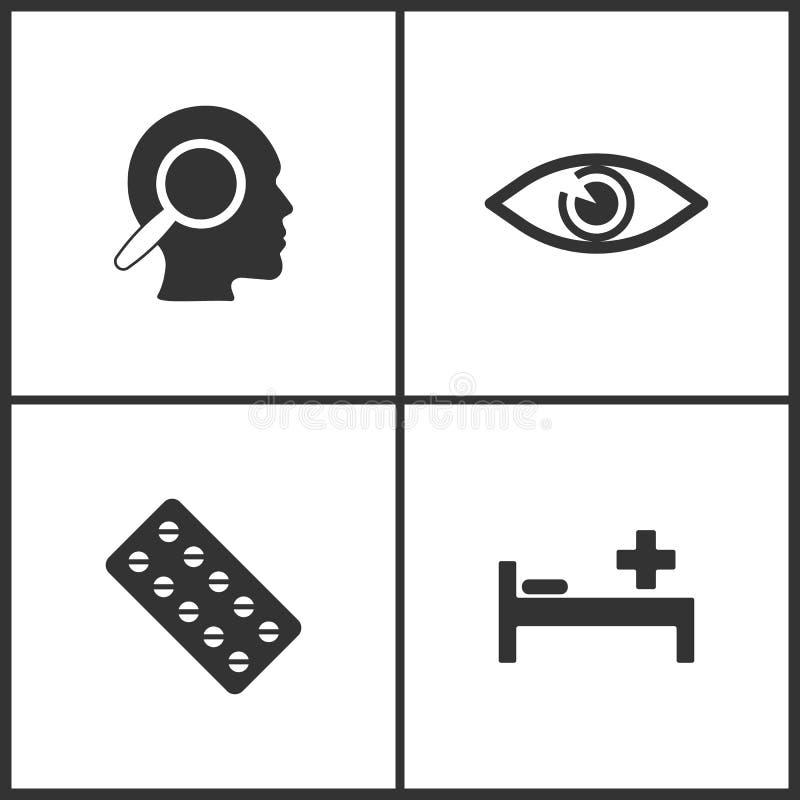 A ilustração do vetor ajustou ícones médicos Elementos ícone da cama dos pensamentos, dos olhos, dos comprimidos e de pagamento ilustração stock