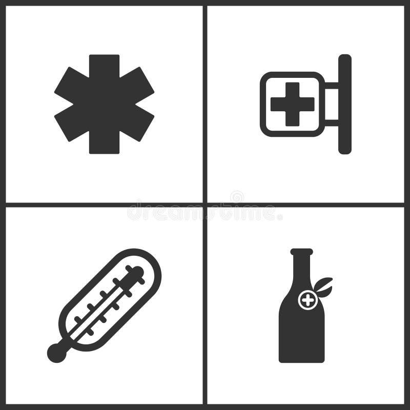 A ilustração do vetor ajustou ícones médicos Elementos ícone da garrafa do tubo de ensaio da farmácia, do termômetro e da medicin ilustração do vetor