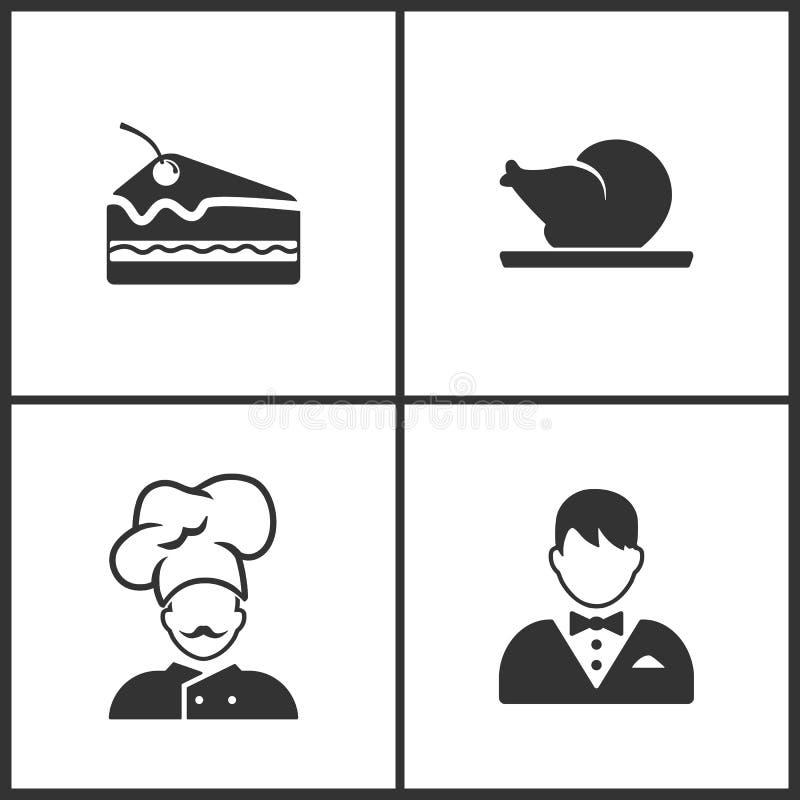A ilustração do vetor ajustou ícones médicos Elementos de Pice do bolo, do ícone da galinha, do cozinheiro chefe e do garçom ilustração do vetor