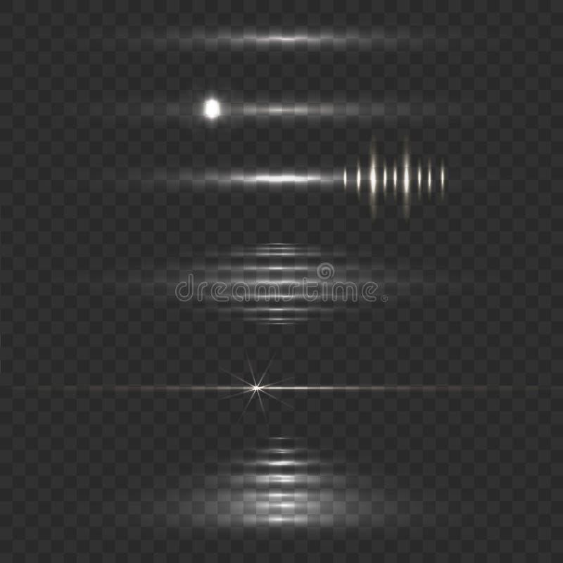Ilustração do VETOR do alargamento da lente, efeito do brilho, luz movente ilustração do vetor