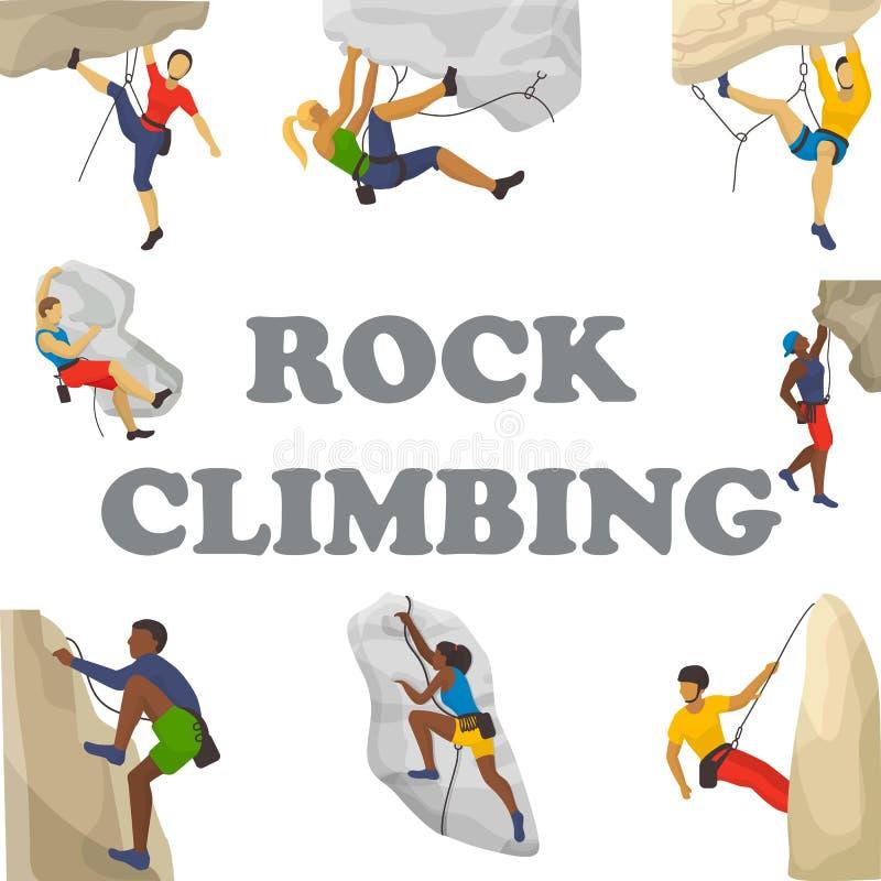 Ilustração do vetor do alpinismo Os montanhistas escalam a parede da rocha ou penhasco e povos montanhosos no esporte extremo ilustração stock