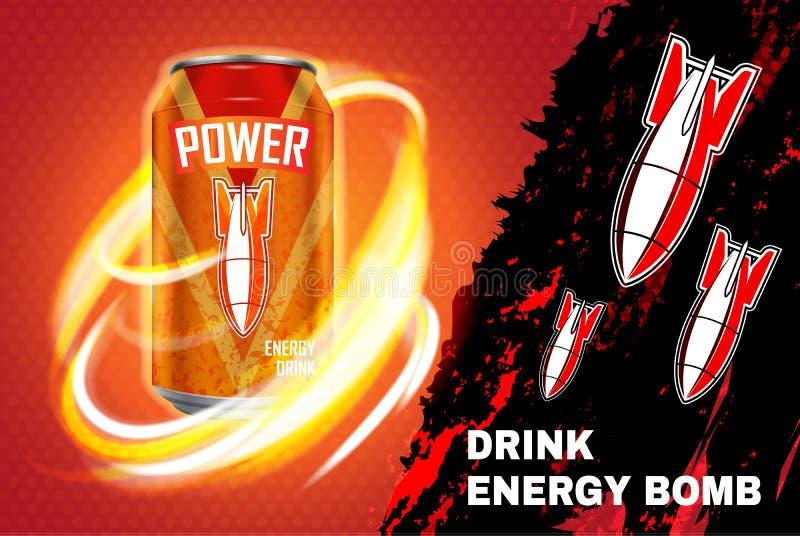Ilustração do vetor do anúncio da bebida da energia da bomba ilustração stock