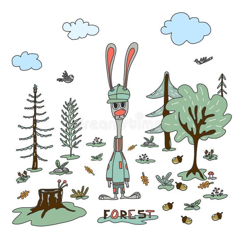 Ilustração do vetor, animais da floresta, coelho, pássaro ilustração stock