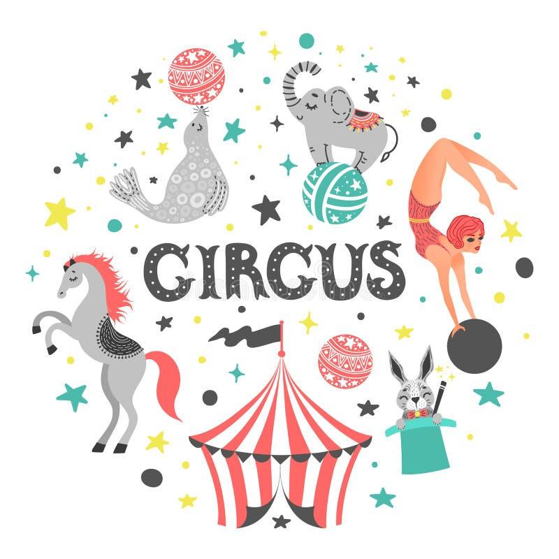 Ilustração do vetor do animal de circo Personagens de banda desenhada bonitos Isolado no branco ilustração royalty free