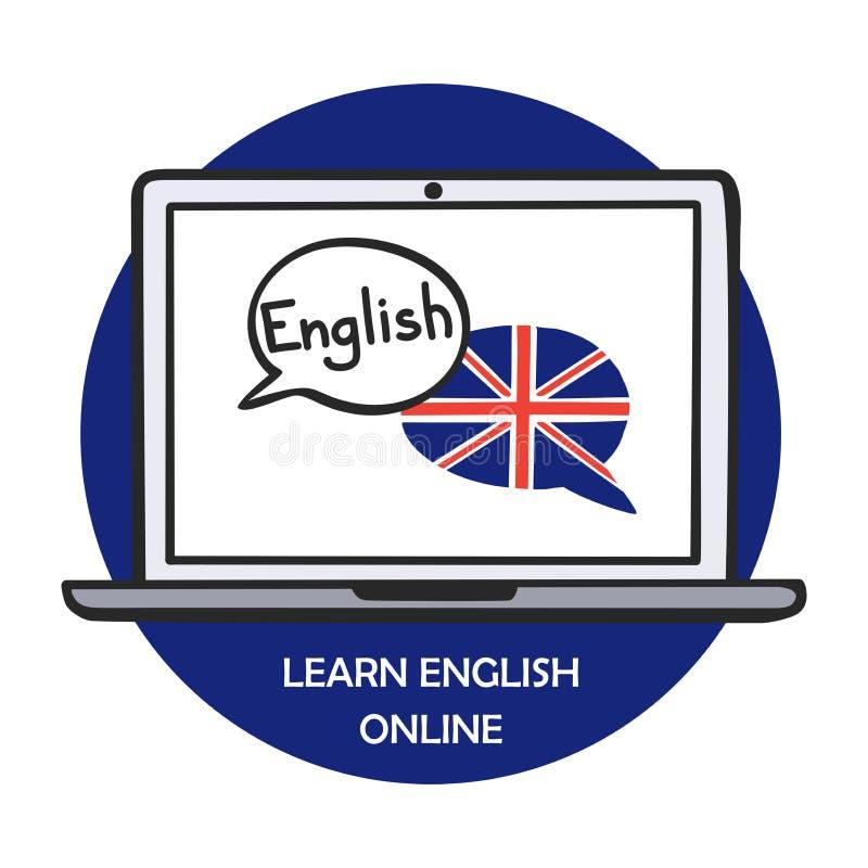 A ilustração do vetor aprende em linha inglês ilustração stock