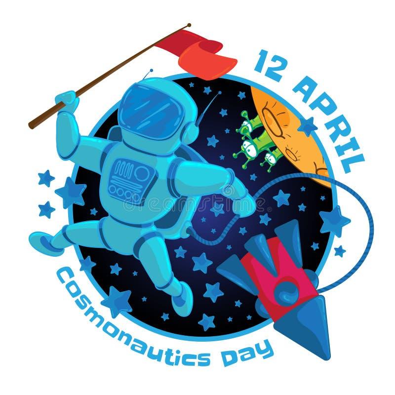 Ilustração do vetor a 12 April Cosmonautics Day Um astronauta ou um cosmonauta com uma bandeira vermelha no espaço e no voo ilustração royalty free