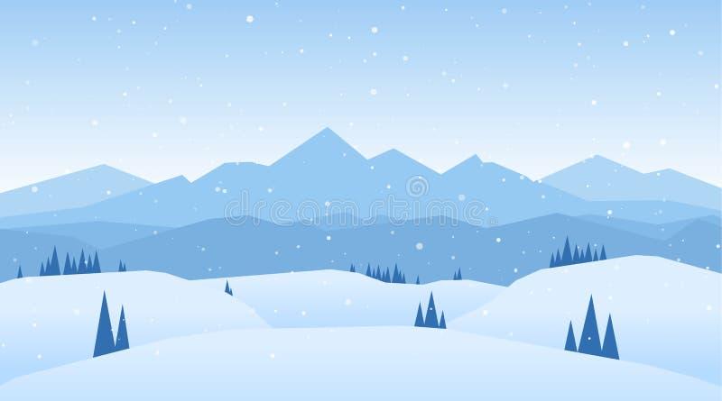 Ilustração do vetor: As montanhas nevado do inverno ajardinam com montes e pinhos ilustração stock