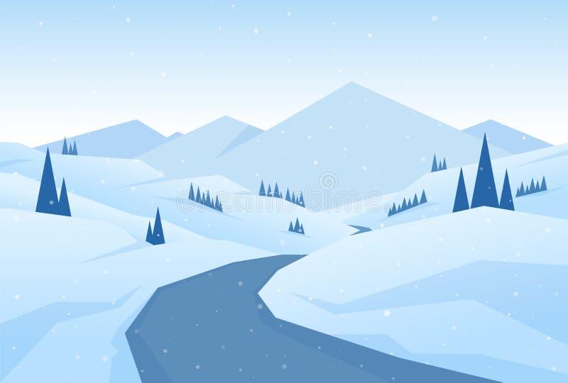 Ilustração do vetor: As montanhas nevados do Natal do inverno ajardinam com estrada, pinhos e montes ilustração do vetor