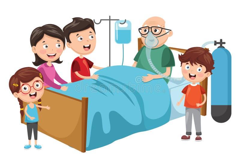 Ilustração do vetor do avô da visita da família no hospital ilustração stock