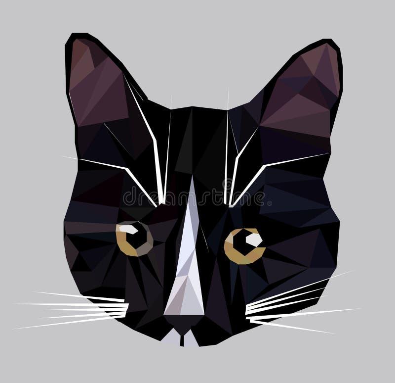 Ilustração do vetor do baixo ícone poli do gato ilustração royalty free