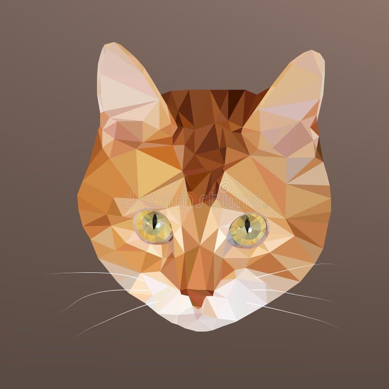 Ilustração do vetor do baixo gato vermelho-dirigido poli ilustração stock