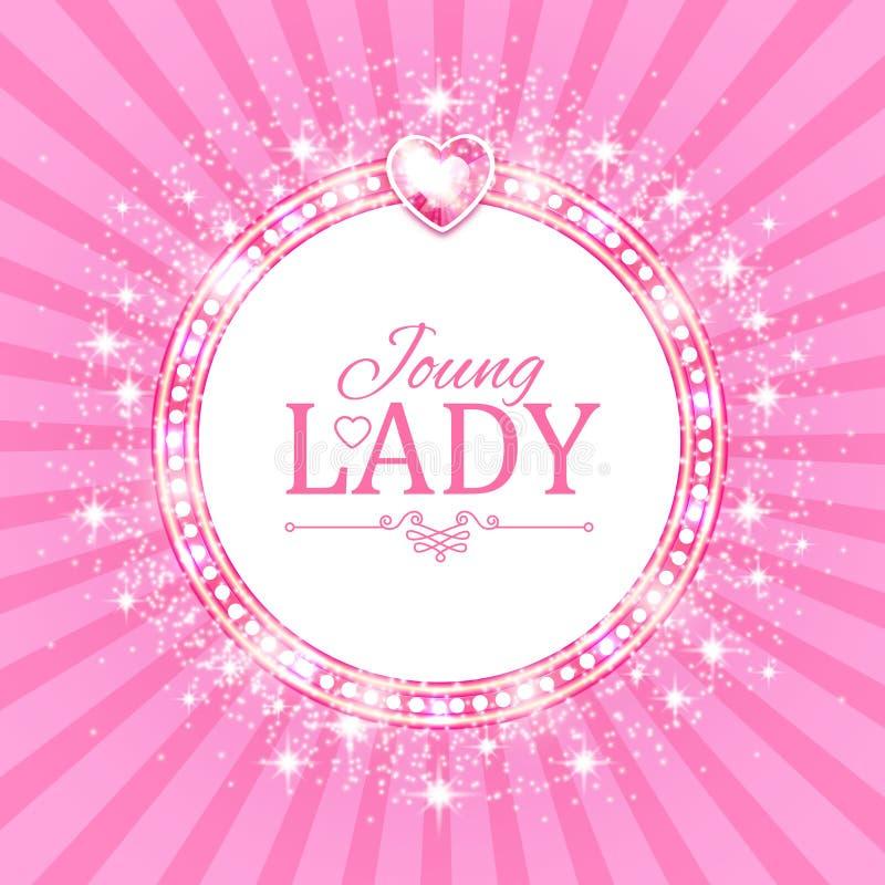 Ilustração do vetor Bandeira cor-de-rosa bonito para a princesa, o encanto e o projeto do bebê Brilho retro no fundo da explosão ilustração royalty free