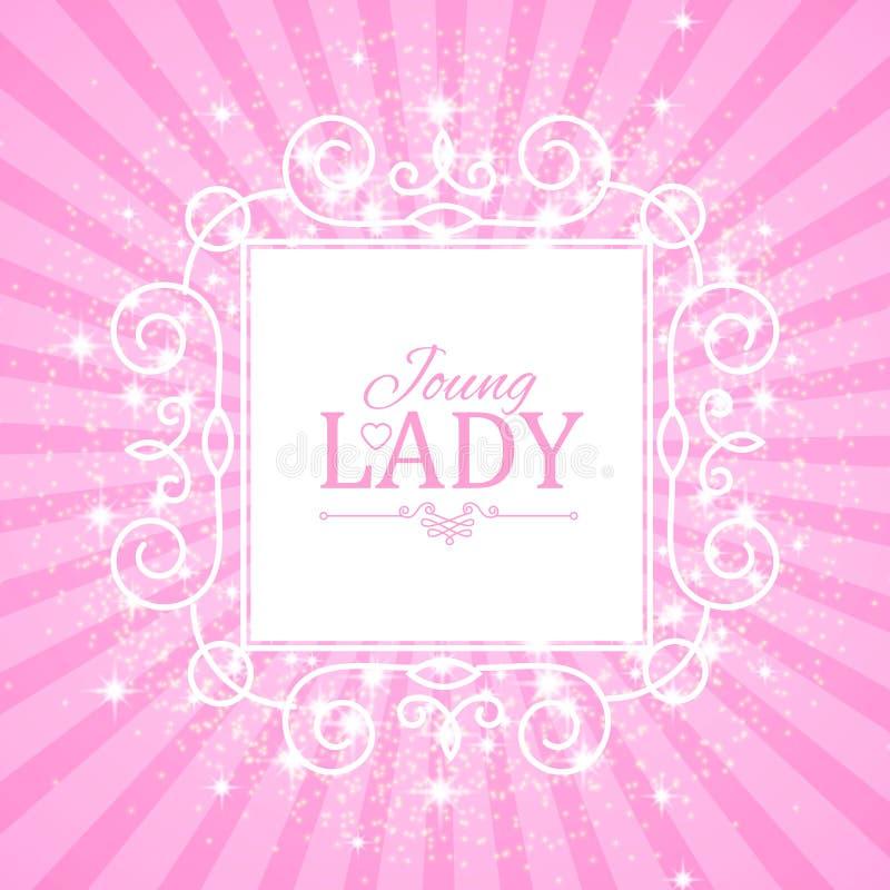 Ilustração do vetor Bandeira cor-de-rosa bonito para a princesa, o encanto e o projeto do bebê Brilho retro no fundo da explosão ilustração do vetor
