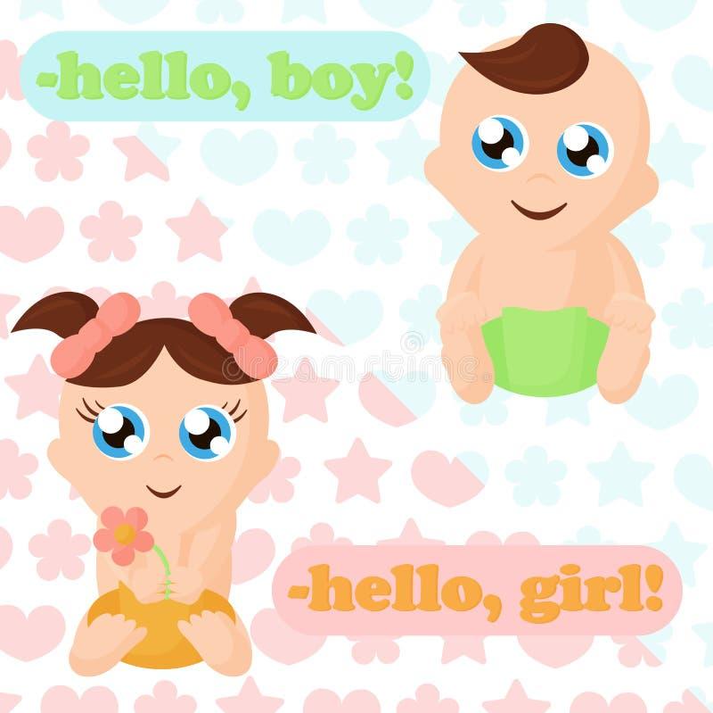 Ilustração do vetor do bebê e do bebê pequenos Bebês adoráveis com bolhas de pensamento, lugar para seu texto cute ilustração stock