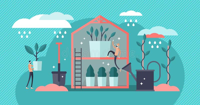 Ilustração do vetor do berçário da planta Mini pro conceito de jardinagem liso das pessoas ilustração do vetor