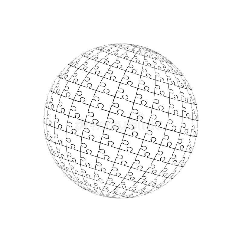 Ilustração do vetor bola do enigma 3d Eps 10 ilustração royalty free