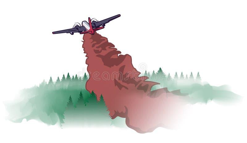 Ilustração do vetor do bombardeiro da água do incêndio violento ilustração royalty free