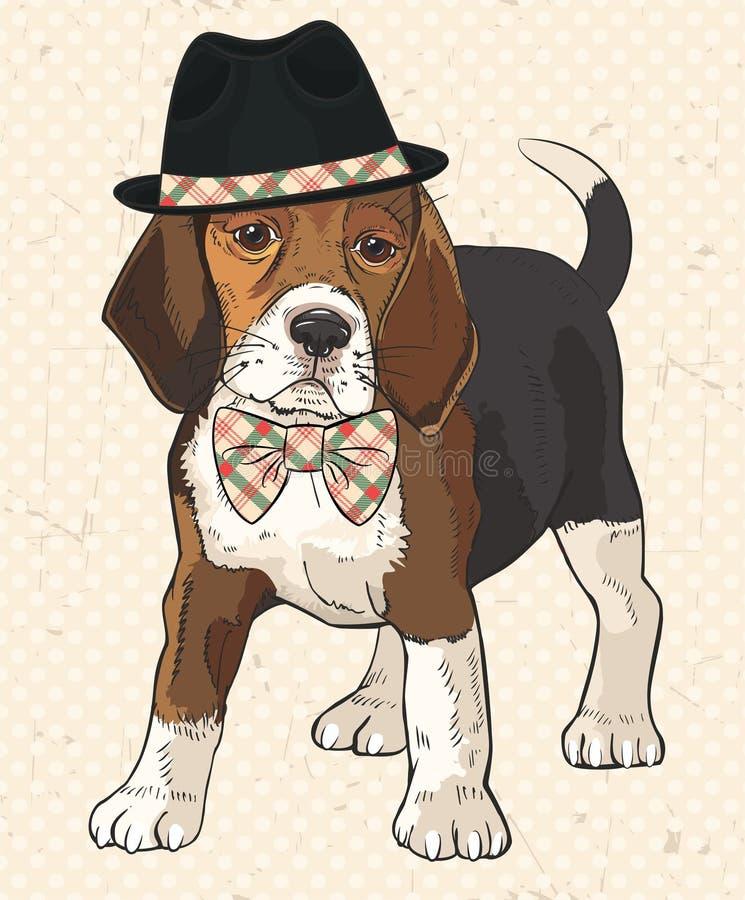 Ilustração do vetor do cão da forma do puro-sangue com o chapéu negro em seus cabeça e laço quadriculado em seu pescoço ilustração do vetor