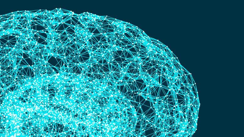 Ilustração do vetor do cérebro digital, de conexões abstratas, de conceito da inteligência artificial e de possibilidades de ment ilustração royalty free