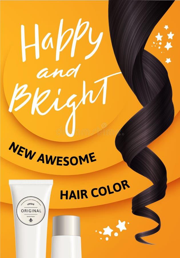 Ilustração do vetor do cabelo encaracolado realístico de Brown e da garrafa plástica branca para o cosmético no fundo amarelo ilustração stock