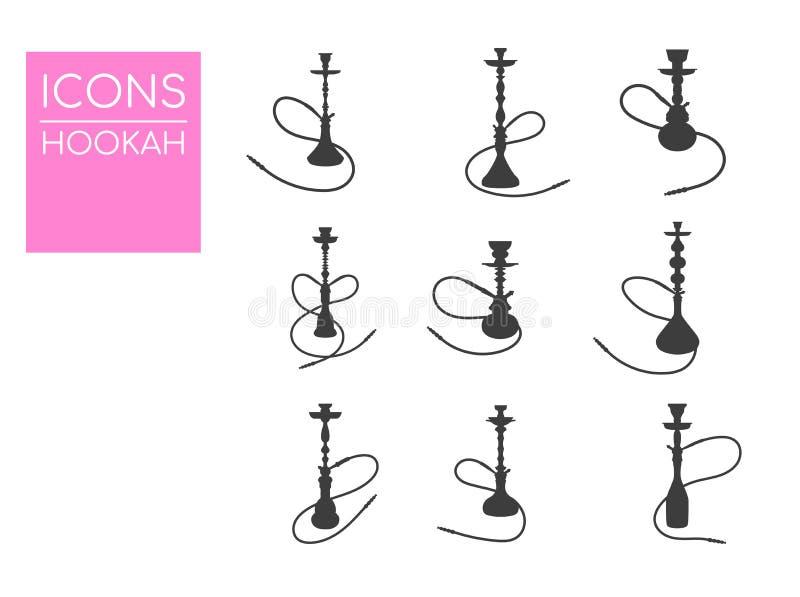 Ilustração do vetor do cachimbo de água Ícones simples do cachimbo de água Silhueta do cachimbo de água ilustração royalty free