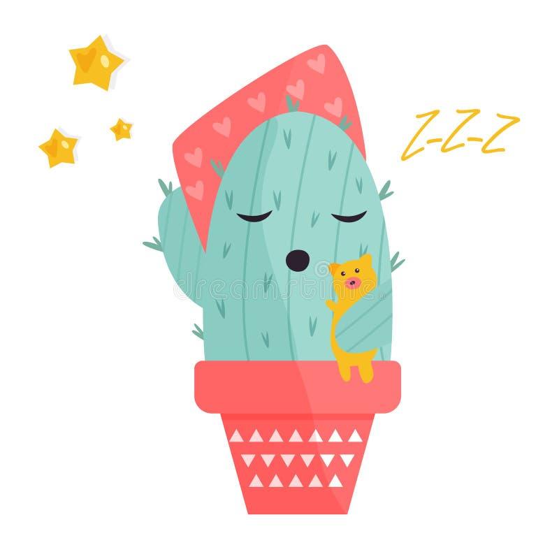 Ilustração do vetor do cacto bonito do sono ilustração stock