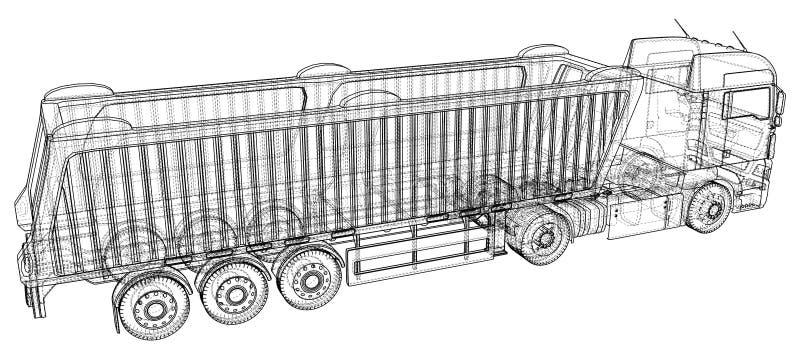 Ilustração do vetor do caminhão basculante Caminhão branco isolado do caminhão basculante Ilustração de seguimento de 3d Formato  ilustração royalty free