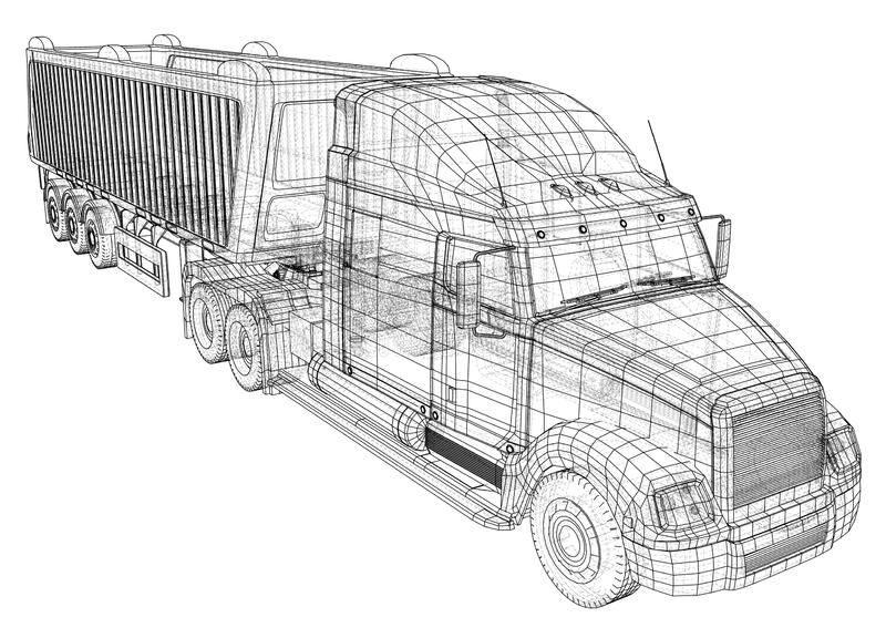 Ilustração do vetor do caminhão basculante Caminhão branco isolado do caminhão basculante Ilustração de seguimento de 3d Formato  ilustração do vetor