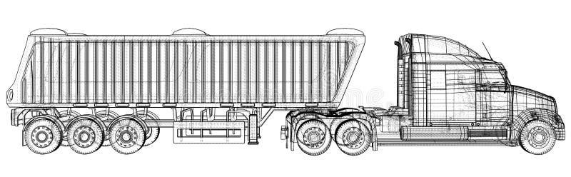Ilustração do vetor do caminhão basculante Caminhão branco isolado do caminhão basculante Ilustração de seguimento de 3d Formato  ilustração stock
