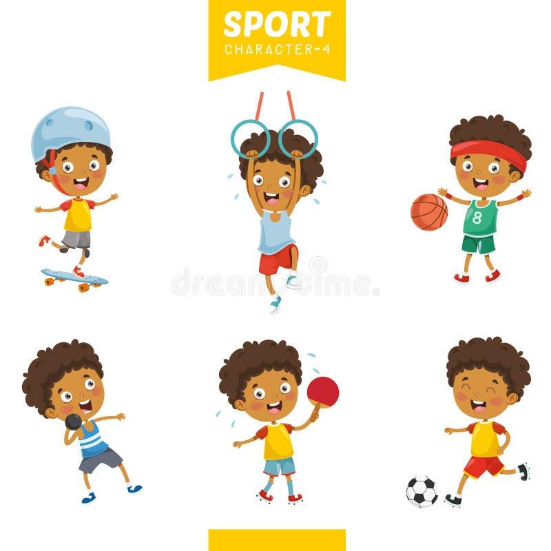 Ilustração do vetor do caráter do esporte ilustração royalty free